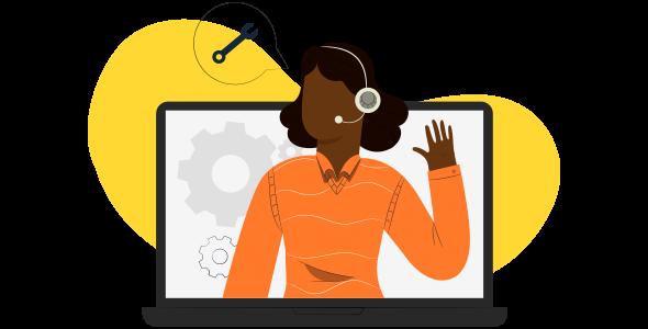 Mulher negra, atendente digital de Black Friday 2021 projetada ludicamente sobre um computador.