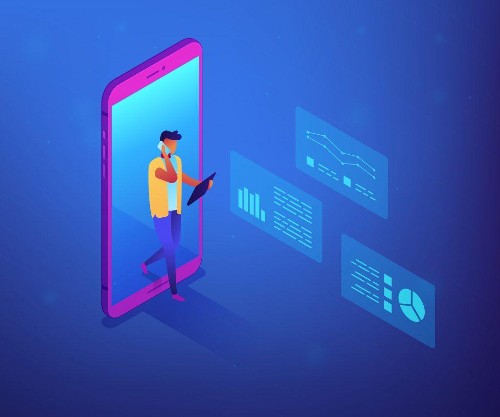 Imagem vetorizada, mostrando uma pessoa saindo de um celular, carregando dispositivos móveis