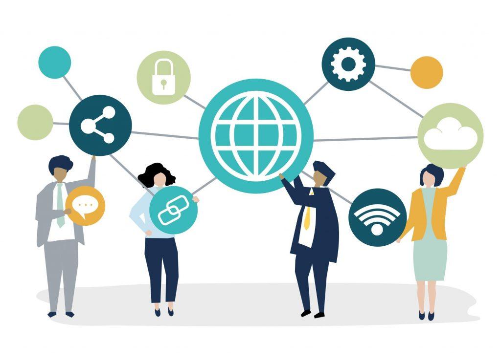 Imagem vetorizada, mostrando pessoas se conectando através de símbolos que representam o mundo virtual