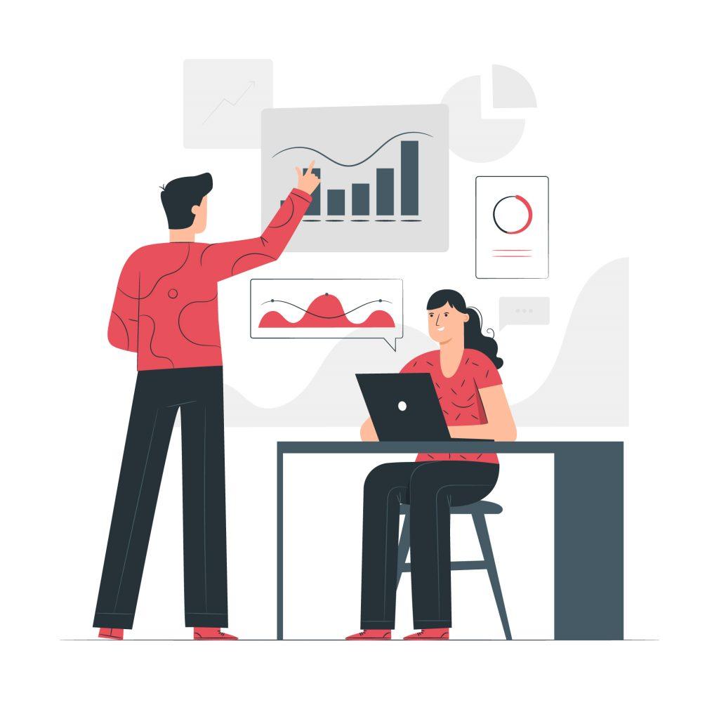 Imagem vetorizada de duas pessoas fazendo uma reunião com gráficos sobre como fazer um e-mail marketing