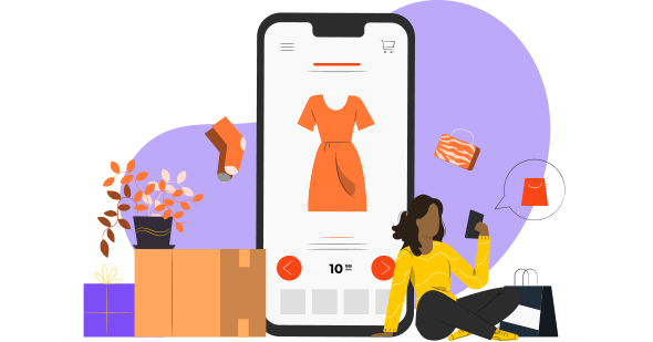 Mulher morena comprando um vestido laranja pelo celular após receber notificação planejada pelo o que é opt-in.