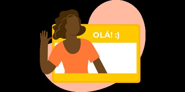 """Mulher negra fazendo sinal de """"olá"""" em frente a uma placa, também com os dizerem """"Olá"""" com uma carinha feliz, demonstrando o que é opt-in."""
