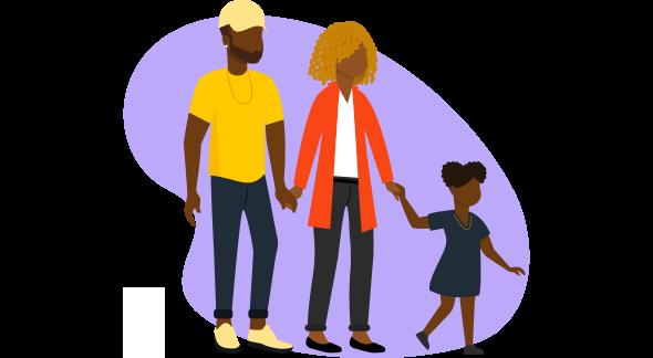 Homem, mulher e menina criança aproveitando as vantagens da campanha dia das mães.