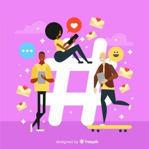 Bonecos de animação em uma hashtag representando um social selling.