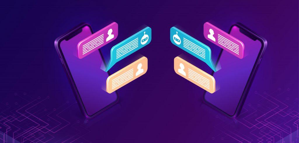Imagem em vetores de dois celulares roxos em que aparecem troca de mensagens online