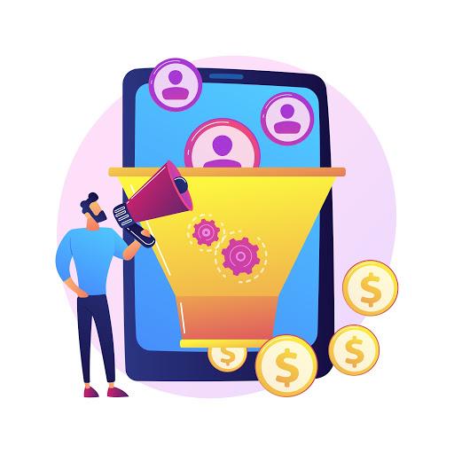 Imagem vetorizada mostrando símbolos que representam clientes entrando em um funil e saindo como símbolos de dinheiro