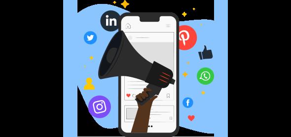 Celular cercado de ícones de redes sociais e com um megafone na tela, representando o social selling.