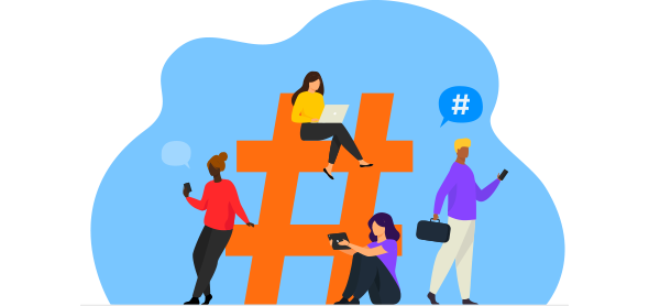Quatro mulheres em volta de hashtag trabalhando em social selling