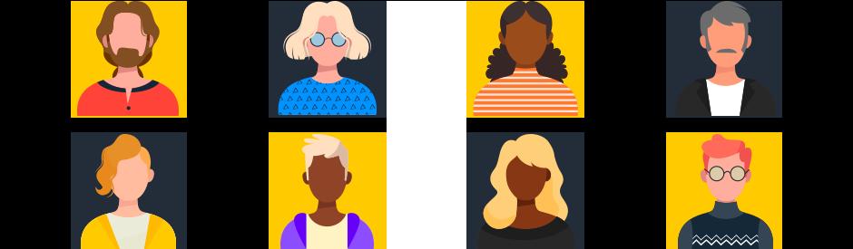imagem em vetor de pequenos icons ilustrando as personas que precisam ser traçadas quando pensamos em inteligência analítica