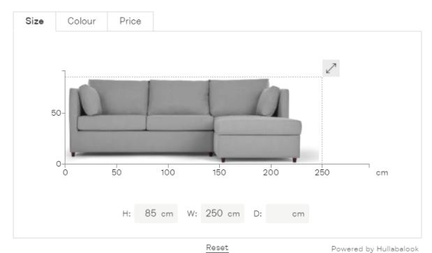 Sofá vendido online, exemplificando a otimização da jornada do consumidor.