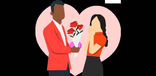 Um homem dando rosas vermelhas para mulher demonstrando campanha Dia dos Namorados.