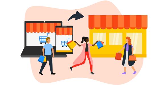 Duas mulheres e dois homens fazendo compras online e offline, aproveitando a experiência O2O.