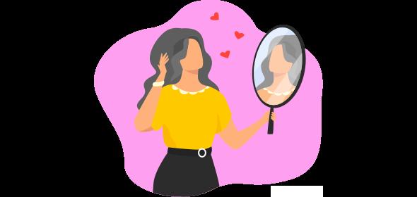 Mulher se olhando no espelho e aproveitando a campanha Dia dos Namorados para solteiros.