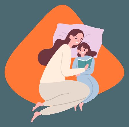 Mãe e filha lendo um livro na campanha de dia das mães.