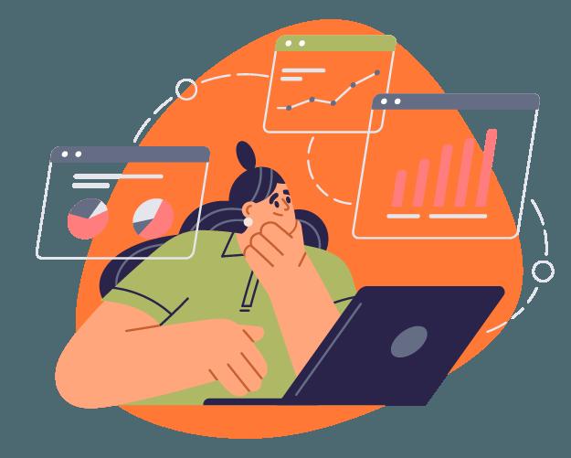 Empreendedora avaliando os dados da sua marca para definir seu calendário e-commerce.