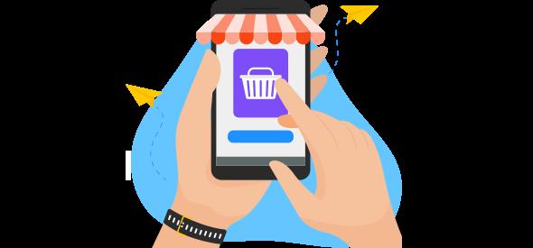 Mãos do consumidor digital fazendo compras pelo celular.