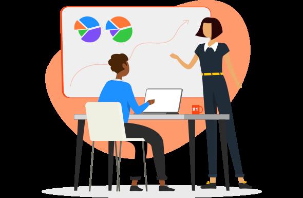 Homem e mulher analisando os dados para escolher a melhor estratégia para valor de marca da empresa.