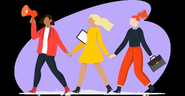 Três mulheres no mercado de trabalho de mãos dadas em luta.
