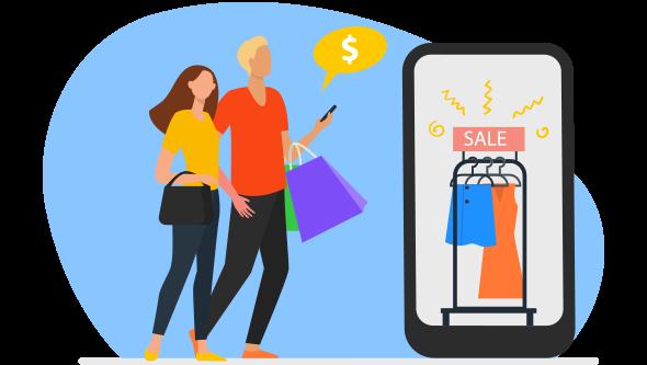 Casal de consumidor digital, de homem e mulher, indo às compras no app.