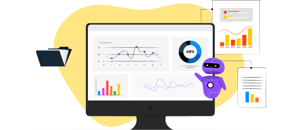 Computador com algumas ferramentas de Business Intelligence e Analytics, como gráficos, pastas e assistente interativo.