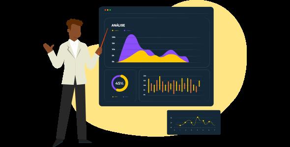 Homem, especialista na área de marketing, explicando com uma vara de apontar em um quadro negro os dados do O que é Business Intelligence e Analytics.