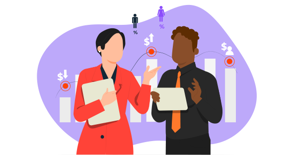 Uma mulher e um homem conversando sobre as vantagens financeiras do Business Intelligence e Analytics.