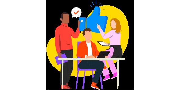 Time de dois homens e uma mulher segurando um like demonstrando que o benchmark ou benchmarking podem ajudar na estratégia de engajamento dos clientes.
