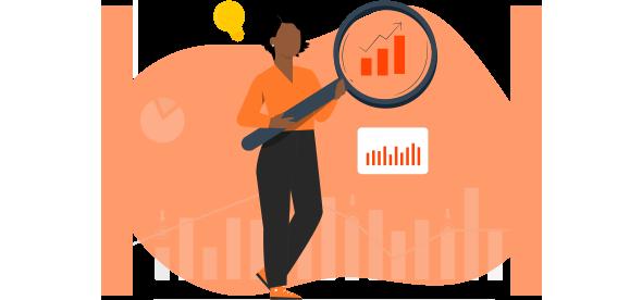 Mulher negra segurando uma lupa para ver melhor os dados de benchmark ou benchmarking.