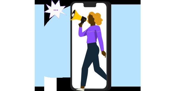 Mulher negra com um megafone e dentro de um celular demonstrando como o sistema CRM faz o seu marketing chegar mais longe.