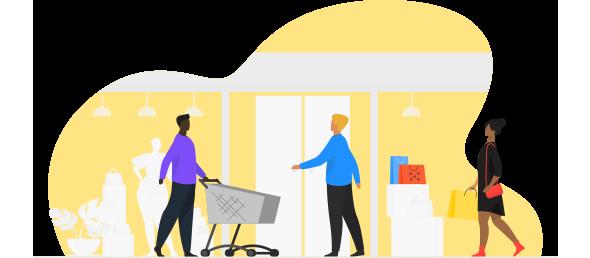 Três consumidores (dois homens e uma mulher) fazendo compras de forma integrada (online e físico) usando das facilidades do varejo omnichannel.