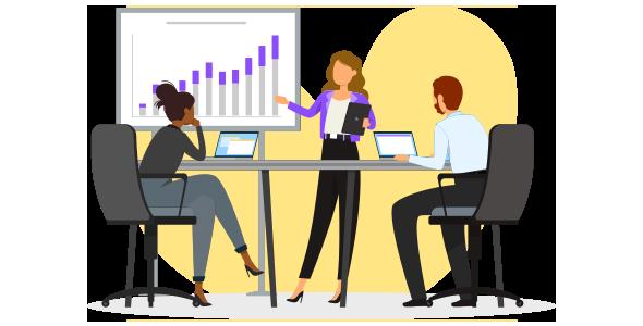 Demonstração de uma estratégia CDP em gráficos, sendo apresentada para o time de marketing de uma empresa.